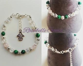 Pain Relief Bracelet, Malachite Bracelet, Rose Quartz Bracelet, Gemstone Bracelet, Pain Relief, Recovery Gift, Gift For Her, Gift For Mum