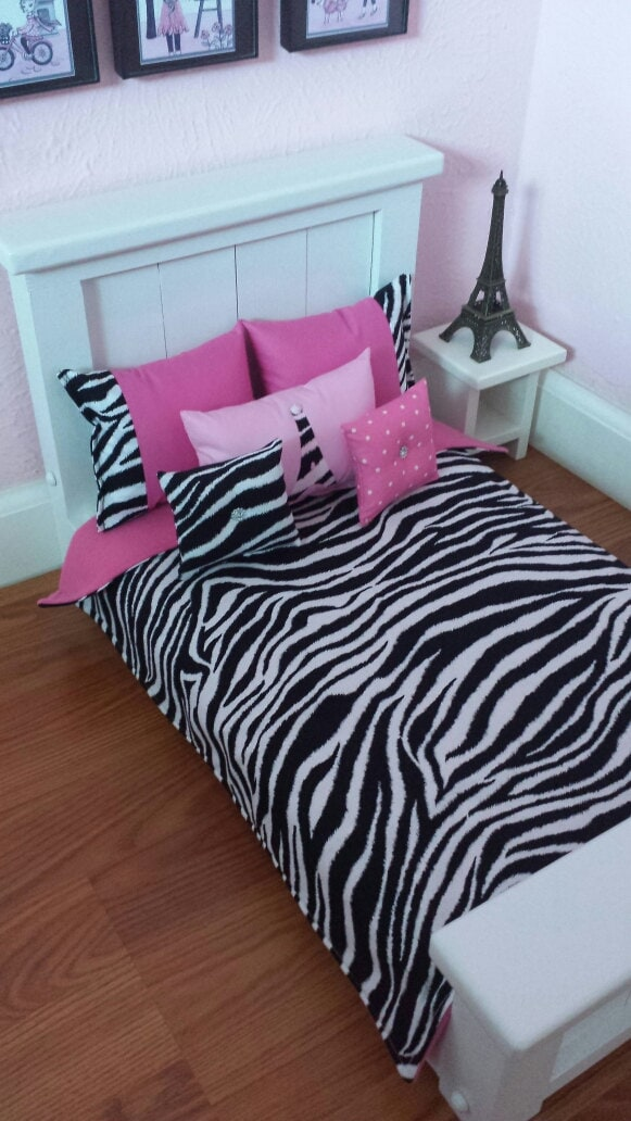 American Girl Doll Bedding 6 Pc Zebra Print And Hot Pink Set