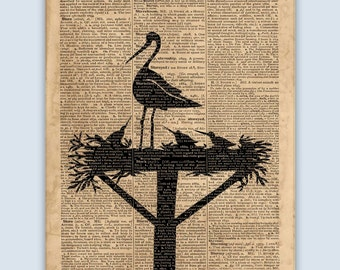 Stork Print, Nursery Wall Art, Childrens Wall Decor, Kids Wall Art, Nursery Print, Nursery Decor, Childrens Art, Nursery Poster