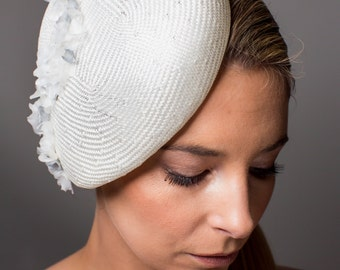Lisa - White and Silver Lichen and Ivory Straw Beret