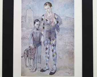 TWO SALTIMBANQUES With A DOG Genuine Original Antique Fine Art Print by Pablo Picasso c.1950 - Vintage Plate Mounted Print Artist Painting