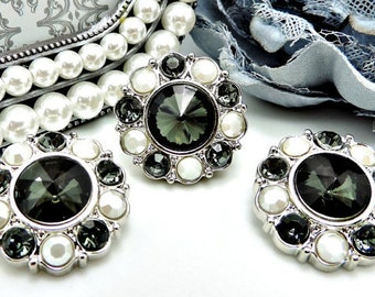 Wholesale CHARCOAL GRAY Rhinestone Buttons W/ Pearly White & Gray Surrounding Rhinestones Buttons Garment Dress Button 25mm 2997 27 J2 27R