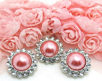 ROSE PINK Rhinestone Pearl Buttons Acrylic W/ Clear Surrounding Rhinestones Wedding Button Wedding Bouquets Button Brooch 26mm 3185 104P 2R