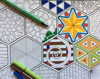 Hexagon Doodle Coloring Page