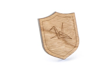 Crane Lapel Pin, Wooden Pin, Wooden Lapel, Gift For Him or Her, Wedding Gifts, Groomsman Gifts, and Personalized
