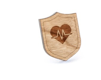 Heartbeat Lapel Pin, Wooden Pin, Wooden Lapel, Gift For Him or Her, Wedding Gifts, Groomsman Gifts, and Personalized