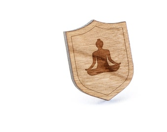 Meditation Lapel Pin, Wooden Pin, Wooden Lapel, Gift For Him or Her, Wedding Gifts, Groomsman Gifts, and Personalized
