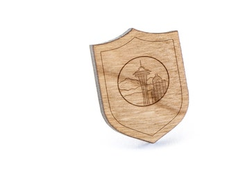 Seattle Skyline Lapel Pin, Wooden Pin, Wooden Lapel, Gift For Him or Her, Wedding Gifts, Groomsman Gifts, and Personalized