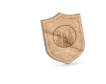 Chicago Skyline Lapel Pin, Wooden Pin, Wooden Lapel, Gift For Him or Her, Wedding Gifts, Groomsman Gifts, and Personalized