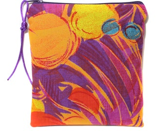 orange and purple fabric for make-up, medicines, paper kit