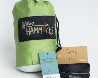 Hobo Hammocks Double Camping Hammock (Lime Cloud) - Portable Parachute Nylon