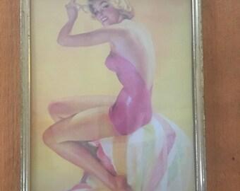 Beach Queen Pin Up Print in a Golden Frame // Roy Best 1940s