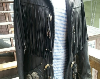 Mealey's Pittic Leather Jacket size 12 black hand crafted