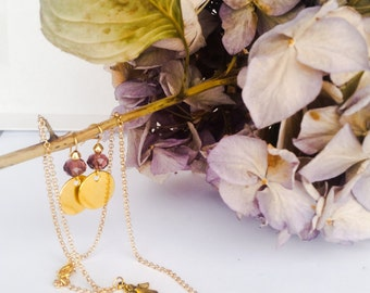 Purple earrings for mum - purple jewelry for MOM - earrings and necklace glass translucent and gold plated, EliaCreaSoa