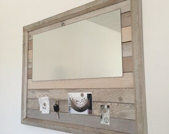 Mirror / Magnet Board made from White Washed Reclaimed Cedar.