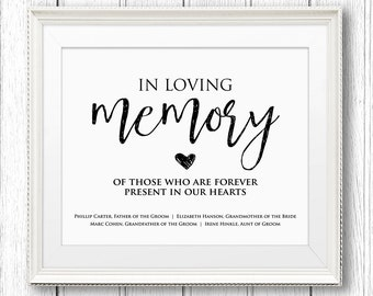 50% off in loving memory wedding sign template editable, Powerpoint templates