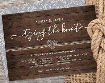 Bridal Shower Invitation Printable, Rustic Wedding Shower Invite Template, Tie the Knot, Instant Download, Editable PDF File, Digital #201BS