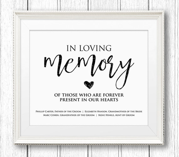 Signs posters minty paperie for In loving memory templates