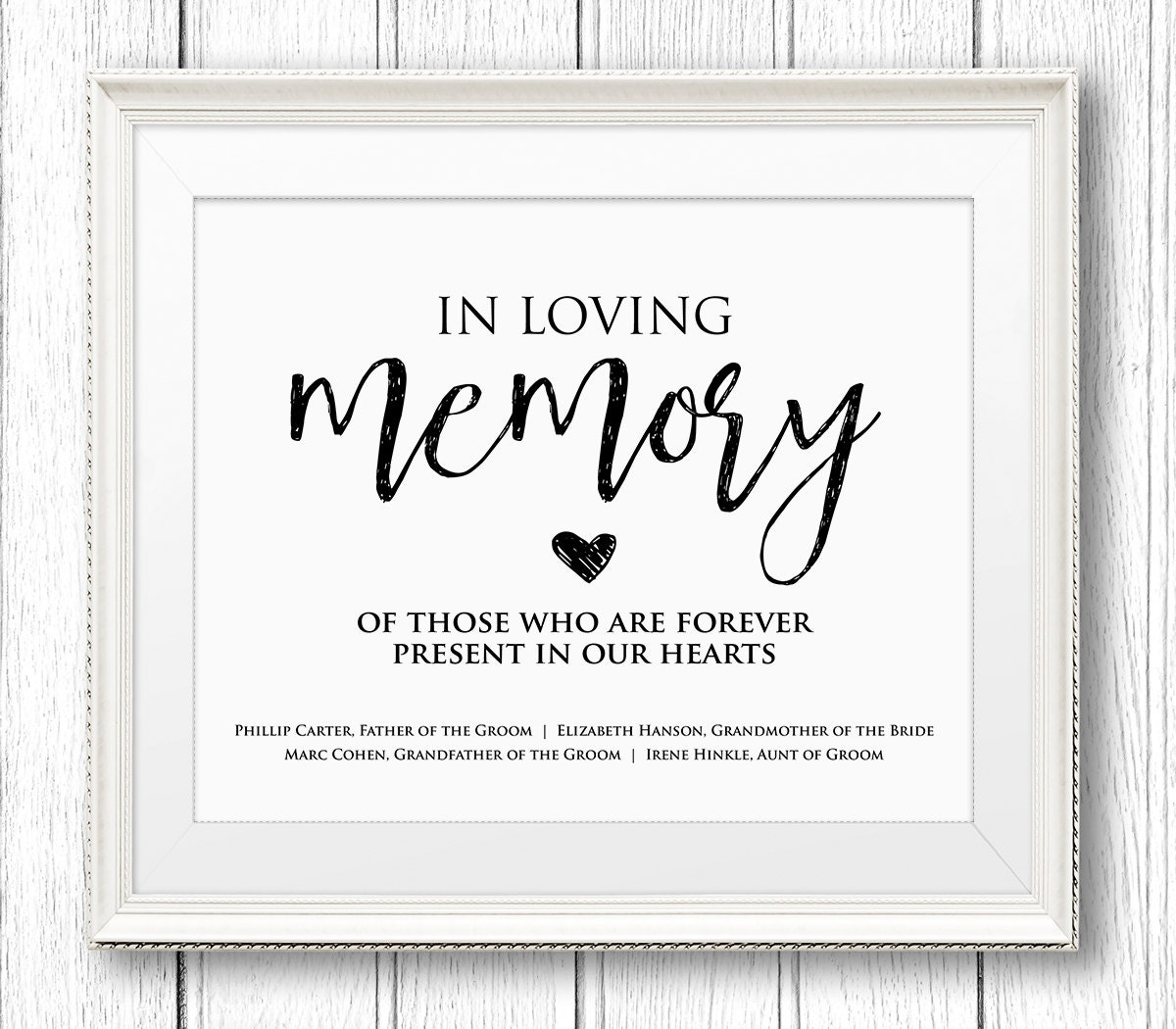 In loving memory wedding sign editable text personalize for In loving memory templates free
