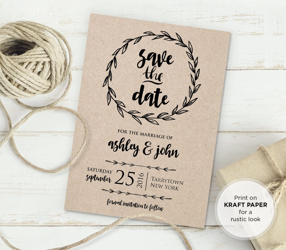 Rustic Save the Date Template, Instant Download, DIY Kraft, Printable Wedding Save the Date
