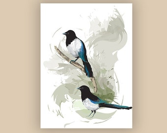 Two Magpies Illustration Print