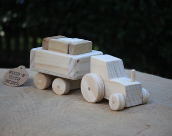 Terence - Handmade Wooden Toy Tractor w/ Blocks
