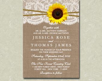"5"" x 7"" Rustic Burlap, Lace, Sunflower & Twine Wedding Invitation Digital File"