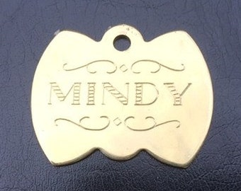 "Solid Brass ""Bow Tie"" Dog Tag with decorative script and scrolls"