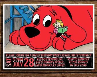 Clifford The Big Red Dog Birthday Invitation-Clifford The Big Red Dog Digital Printable Birthday Party Invitation