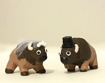 Custom clay buffalo pair wedding cake topper