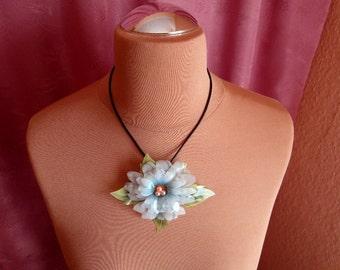 Necklace, necklace, necklace with pendant flower, flower, blue, OOAK, statement necklace, handmade, unique
