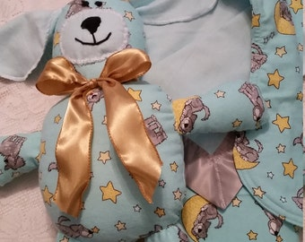 Flannel receiving  blanket, burp cloth, and flannel stuffie dog