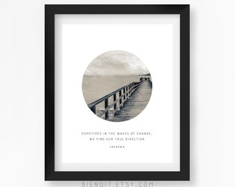 Waves of Change, Literary Quote, True Direction, Quote Print, Typography Print, Seascape, Literary Art, Minimalist Art