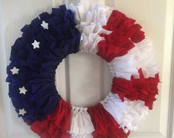 American Flag Fabric Wreath - Fourth of July - red white & blue with white wooden stars