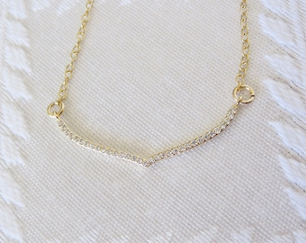 "Gold Filled Necklace with Gold Pave Wing Charm, 16"", GN-133"