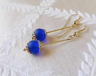Gold-Filled Cobalt Blue Drop Earrings, GE-176