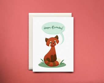 Red Panda Wishes You a Happy Birthday Card