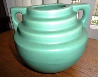 "Catalina Island Descanso Step Vase Sea Foam Green RARE Arts & Crafts Art Deco Green Calif ART pottery 5-1/2"" 6-1/2 wide Ship Worldwide"