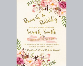 brunch and bubbly bridal shower invitation brunch bridal shower invitation floral ivory bridal shower
