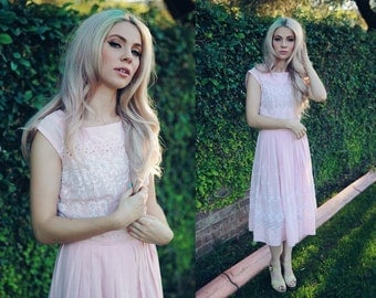 Light Pink Midi Dress with Floral Embroidery