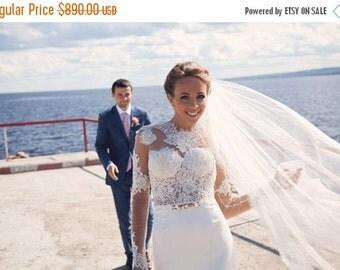 HOT PRICE Berta wedding dress, mermaid wedding dress, lace wedding dress, long sleeve wedding dress,  open back wedding dress