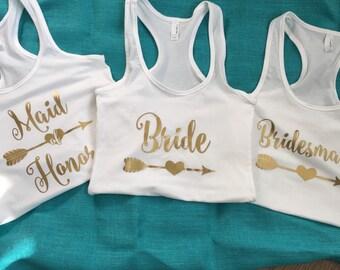 Bachelorette Party Tanks   Bride   Bridesmaid   Maid of Honor   Tanks   Bridal Party   Wedding   Women's Clothing