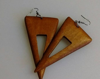 Boho Wooden Triangle Earrings