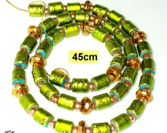 1 pearls strand 45 cm Green gold (K820. 5)