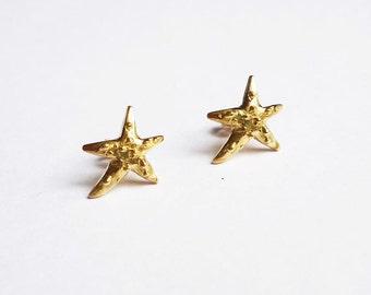 earrings,18K yellow gold,starfish,beach,gift for her