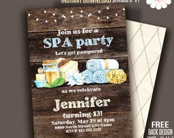 Spa Party invitation, pumpering party, slumber and spa birthday, Printable Self Editable PDF File A141