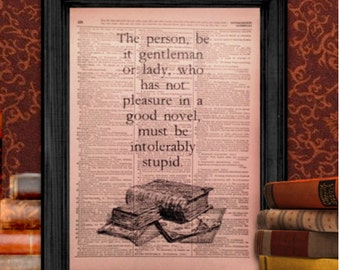 Pleasure in a Good Novel quote, from Northanger Abbey by Jane Austen | Vintage Wall Art, 8.5x11 Print