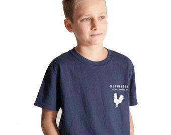 Meanwhile Back on the Farm Rooster Logo Navy Tee - Youth