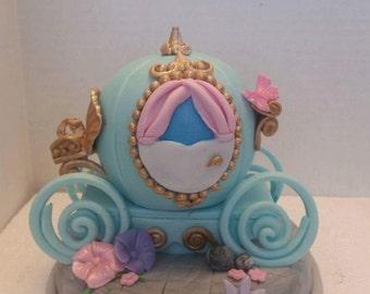 Cinderella carriage Edible Cake Topper