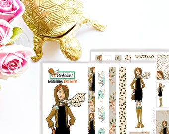 Fall Washi Girl, Printable Stickers